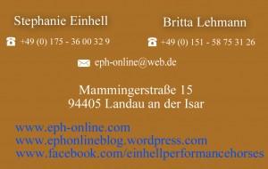kontakt eph einhell performance horses stephanie einhell und britta lehmann. Black Bedroom Furniture Sets. Home Design Ideas